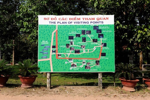 Stock Photo: 1848-482020 Site map of the points of interest in the open_air war museum in Cu Chi, South Vietnam, Vietnam, Southeast Asia, Asia
