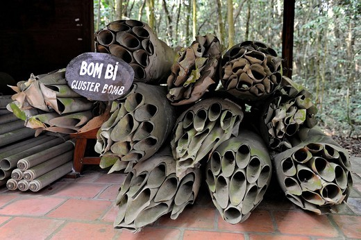 American cluster bombs from the Vietnam War in the open_air war museum in Cu Chi, South Vietnam, Vietnam, Southeast Asia, Asia : Stock Photo