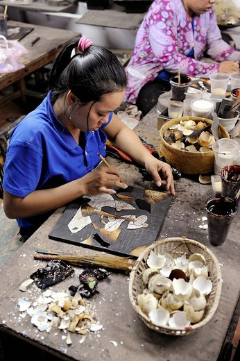 Stock Photo: 1848-482051 Women working on a mosaic in a factory for lacquerware, Ho Chi Minh City, Saigon, South Vietnam, Vietnam, Southeast Asia, Asia
