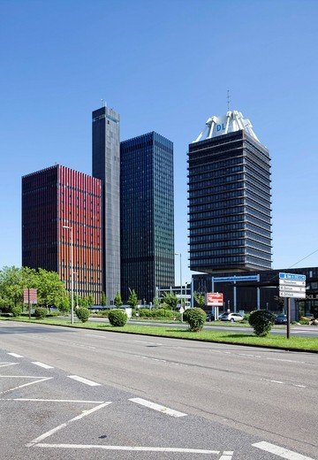 The former, asbestos_contaminated high_rise building of the Deutsche Welle, left, and on the right, the building of Deutschlandradio or Radio Germany, Deutschlandfunk, Raderberg district, Cologne, North Rhine_Westphalia, Germany, Europe : Stock Photo