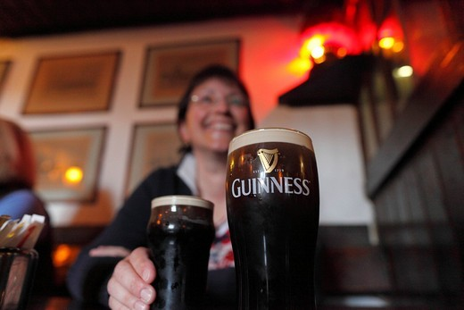 Pint of Guinness stout, Durty Nelly´s pub, Bunratty, County Clare, Ireland, British Isles, Europe : Stock Photo