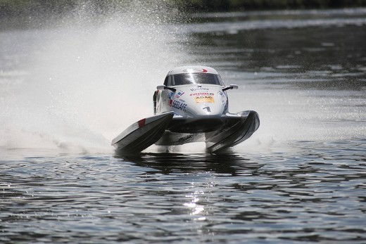 Stock Photo: 1848-482462 Motor boat, international motor boat race on the Moselle river at Brodenbach, Rhineland_Palatinate, Germany, Europe