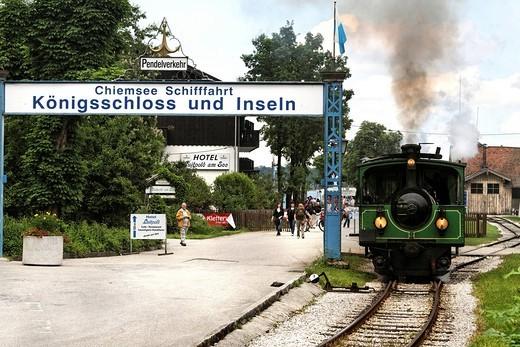 Chiemseebahn tourist train, Prien Stock, lake Chiemsee, Chiemgau, Upper Bavaria, Germany, Europe : Stock Photo