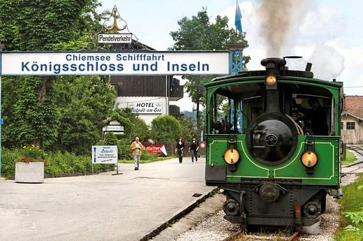 Stock Photo: 1848-482518 Chiemseebahn tourist train, Prien Stock, lake Chiemsee, Chiemgau, Upper Bavaria, Germany, Europe