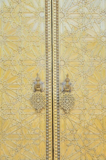 Stock Photo: 1848-482528 Door of the royal palace, Palais Royal, Dar el_Makhzen, at Place des Alaouites in Fes Djedid, Fes, Morocco, Africa