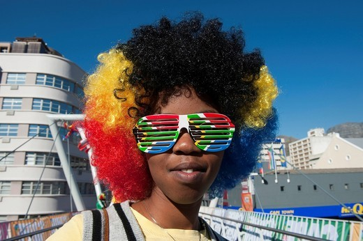 Stock Photo: 1848-482769 South African football fan at the FIFA World Cup 2010, Cape Town, Western Cape, South Africa, Africa