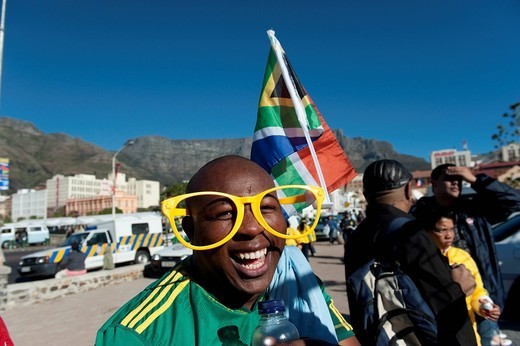 South African football fan at the FIFA World Cup 2010, Cape Town, Western Cape, South Africa, Africa : Stock Photo