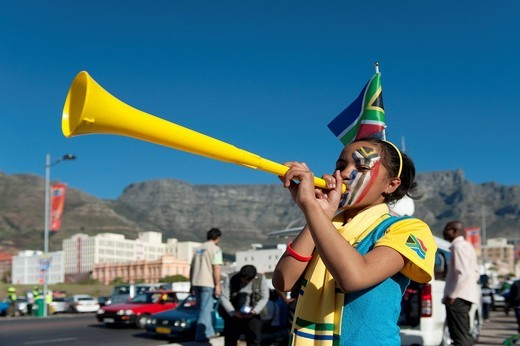 Stock Photo: 1848-482771 South African fan with vuvuzela at the FIFA World Cup 2010, Cape Town, Western Cape, South Africa, Africa