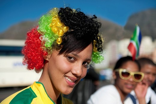 Stock Photo: 1848-482772 South African football fan at the FIFA World Cup 2010, Cape Town, Western Cape, South Africa, Africa