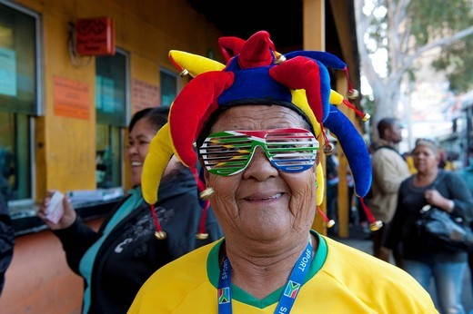 Stock Photo: 1848-482774 South African football fan at the FIFA World Cup 2010, Cape Town, Western Cape, South Africa, Africa