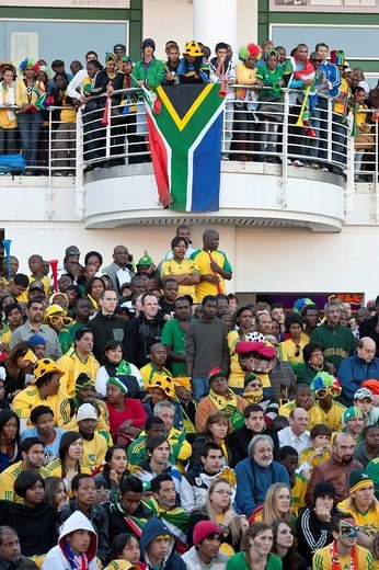 Stock Photo: 1848-482854 South African fans at the public screening of the opening match of South Africa against Mexico, FIFA World Cup 2010, Cape Town, Western Cape, South Africa, Africa