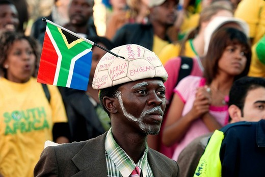 Stock Photo: 1848-482855 South African fan at the public screening of the opening match of South Africa against Mexico, FIFA World Cup 2010, Cape Town, Western Cape, South Africa, Africa