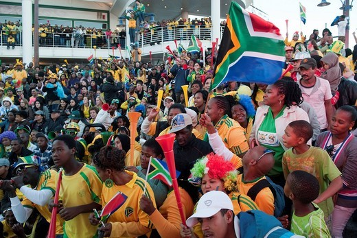 Stock Photo: 1848-482857 South African fans at the public screening of the opening match of South Africa against Mexico, FIFA World Cup 2010, Cape Town, Western Cape, South Africa, Africa