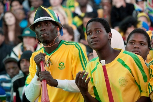 Stock Photo: 1848-482861 South African fans at the public screening of the opening match of South Africa against Mexico, FIFA World Cup 2010, Cape Town, Western Cape, South Africa, Africa