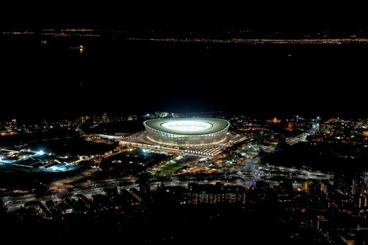 Stock Photo: 1848-482865 The illuminated Green Point Stadium during the Football World Cup 2010 in Cape Town, Western Cape, South Africa, Africa