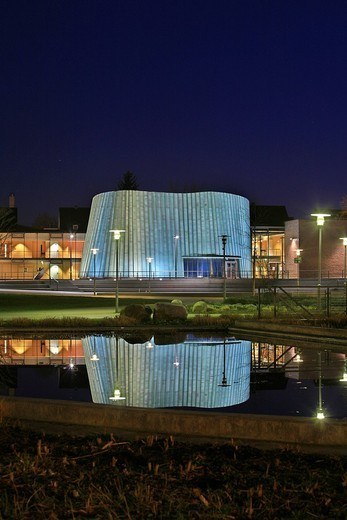Stock Photo: 1848-48294 New music school reflected in a pond at dusk, unique architecture, Fellbach, Stuttgart, Baden_Wuerttemberg, Germany