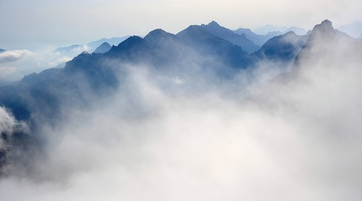 Cloud_shrouded mountains, Fuessen, Bavaria, Germany, Europe : Stock Photo
