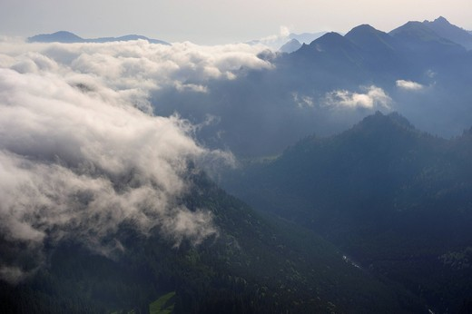 Stock Photo: 1848-482979 Cloud_shrouded mountains, Fuessen, Bavaria, Germany, Europe