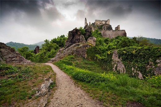 Duernstein ruins, Wachau region, Lower Austria, Austria, Europe : Stock Photo