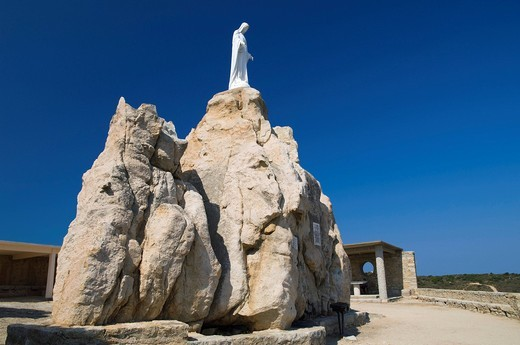 Stock Photo: 1848-483012 Virgin Mary statue on rock, Chapel Notre Dame de la Serra, Calvi, Balagne, Corsica, France, Europe