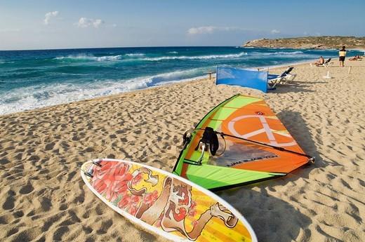 Surfboard on the beach, Algajola, Balagne, Corsica, France, Europe : Stock Photo