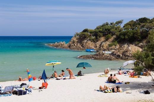 Tourists on the beach, Fautea, East Coast, Corsica, France, Europe : Stock Photo
