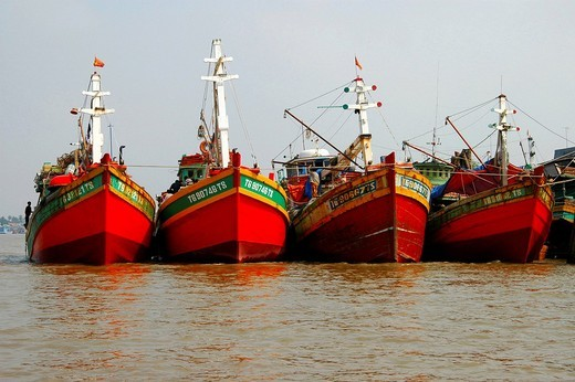 Fishing vessels in the port of My Tho Viet Nam : Stock Photo