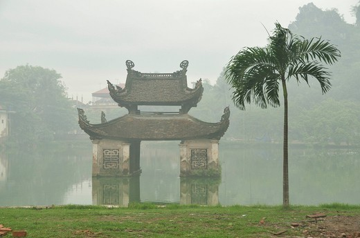 Stock Photo: 1848-483458 Thay Pagoda Chua Thay in the morning mist, Pavilion of Water Puppet Theatre, Hanoi area, Vietnam, Southeast Asia
