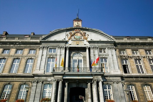 Stock Photo: 1848-483580 Place Saint_Lambert, Palais des Princes_Eveques, the Episcopal Palace in Liège, the largest Gothic civilian building in the world, now provincial palace and court, Wallonia, Belgium, Europe