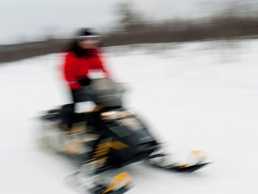 Man driving a snowmobile through the snow, Kiruna, Lappland, Sweden, Europe : Stock Photo