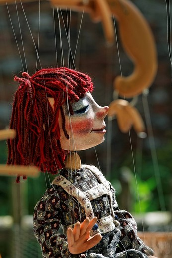 Portrait of a theatre marionette, traditional craft market, Flachsmarkt Burg Linn, Krefeld, Lower Rhineland, North Rhine Westphalia, Germany, Europe : Stock Photo