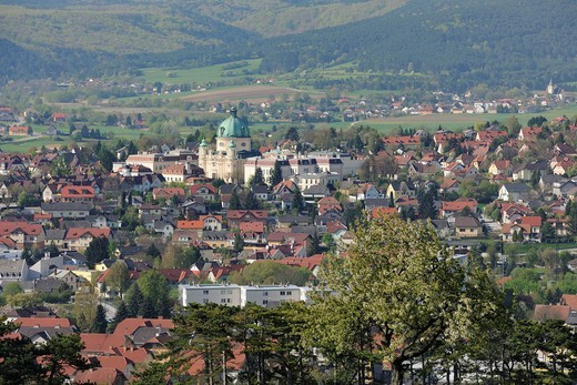 View of Berndorf, Kremesberg mountain, Triestingtal valley, Lower Austria, Austria, Europe : Stock Photo