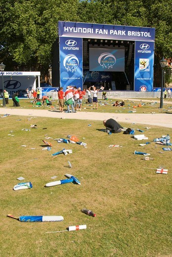 Stock Photo: 1848-484537 Deserted fan park, rubbish, public screening on a large flat screen, stage, soccer match, Football World Cup, Queen Square, Bristol, England, United Kingdom, Europe