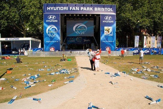 Stock Photo: 1848-484538 Deserted fan park, rubbish, public screening on a large flat screen, stage, soccer match, Football World Cup, Queen Square, Bristol, England, United Kingdom, Europe