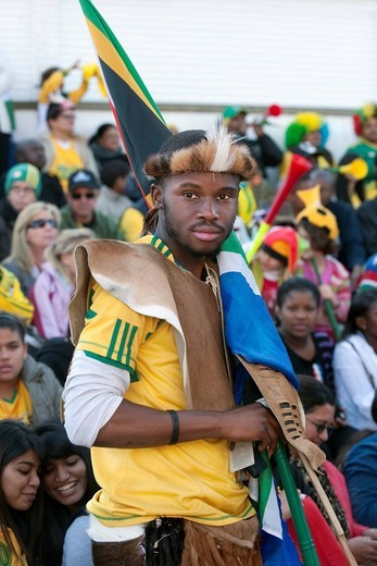 Football supporter dressed as a warrior at public viewing, Cape Town, South Africa, Africa : Stock Photo