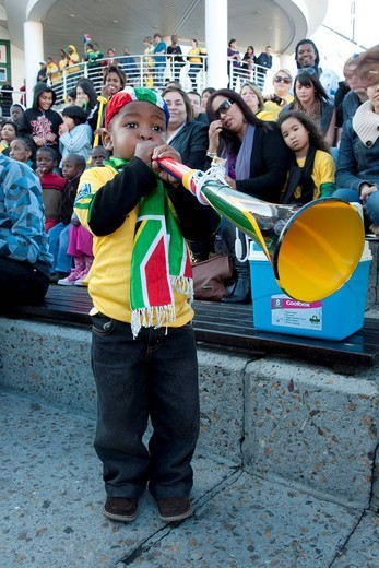 Young South African soccer fan with Vuvuzela at the World Cup 2010 in Cape Town, South Africa, Africa : Stock Photo