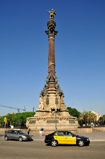 Taxi in front of the Columbus Statue at the Old Port, Barcelona, Spain, Iberian Peninsula, Europe : Stock Photo
