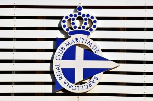 Logo on the front of the Club Maritim de Barcelona, Yacht Club, Barcelona, Spain, Iberian Peninsula, Europe : Stock Photo