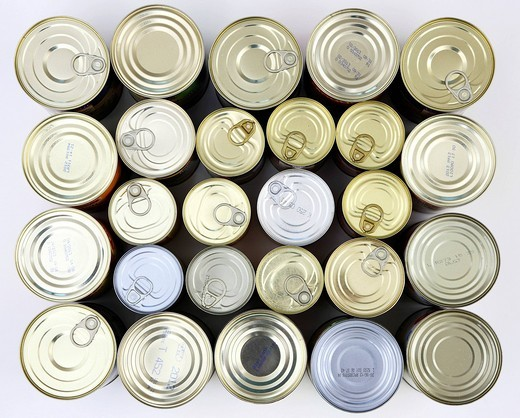 Cans of tinned food : Stock Photo