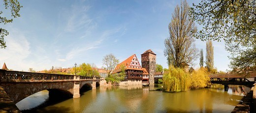 Panorama, Maxbruecke Bridge, Weinstadl, former flat of the hangman in the water tower, Henkersteg, historic city centre, Nuremberg, Middle Franconia, Bavaria, Germany, Europe : Stock Photo