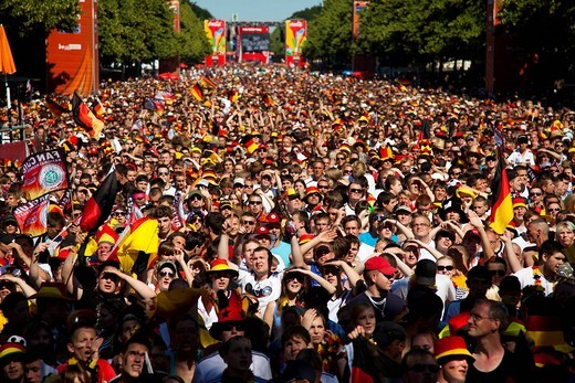 Stock Photo: 1848-485145 Fans at the eight final match of the Football World Cup 2010 on the Berlin fan mile, Berlin, Germany, Europe