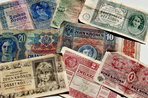 Kronen banknotes, Austro_Hungarian Bank and the Protectorate of Bohemia and Moravia, 1915_1942, Europe : Stock Photo