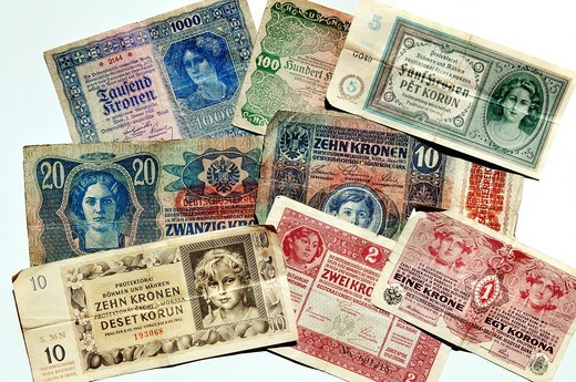Stock Photo: 1848-485170 Kronen banknotes, Austro_Hungarian Bank and the Protectorate of Bohemia and Moravia, 1915_1942, Europe