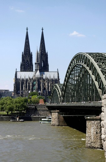 Stock Photo: 1848-485182 Cathedral and part of the Hohenzollern Bridge, Cologne, North Rhine_Westphalia, Germany, Europe