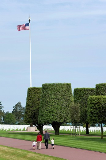 American military cemetery at Omaha Beach near Colleville sur Mer, Normandy, France, Europe : Stock Photo