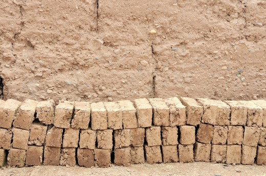Bricks, rammed earth architecture in the old town or Medina, Ouarzazate, Morocco, Africa : Stock Photo