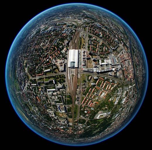 Aerial view, fisheye, Dresden, Saxony, Germany, Europe : Stock Photo