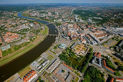 Stock Photo: 1848-485373 Aerial view, Dresden, Saxony, Germany, Europe