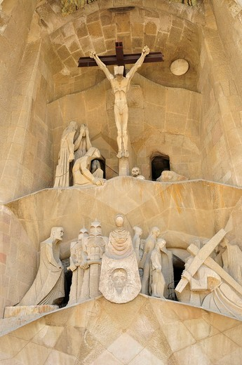 Detail of the Passion Portal of Sagrada Familia, designed the most famous Spanish architect Antoni Gaudí in a modernist style, Barcelona, Spain, Iberian Peninsula, Europe : Stock Photo