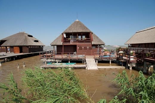 Village Hua in the lake, Neusiedler See lake, Fertoe, Hungary, Europe : Stock Photo